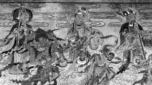 寺内的精美壁画色彩脱落。