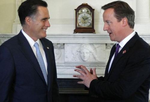 左为美国共和党总统候选人罗姆尼,右为英国首相卡梅伦