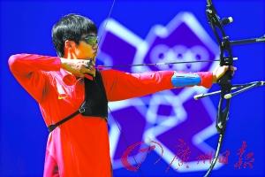 中国射箭选手刘招武赛前备战。(CFP)