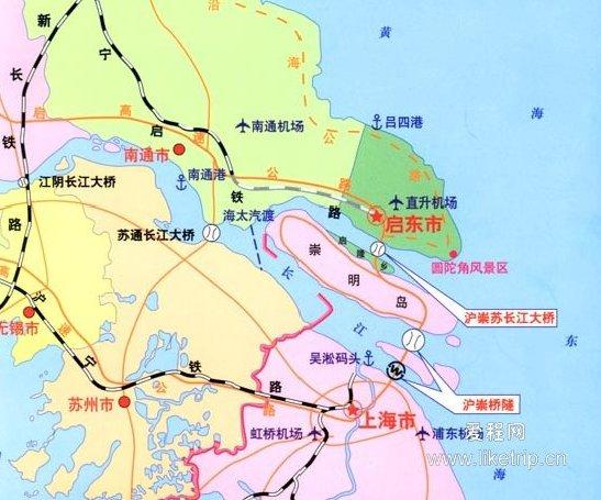 启东地理位置示意图