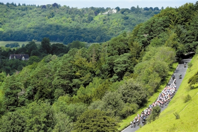 在绿树丛中进行比赛,对于车手来讲也是一种享受。