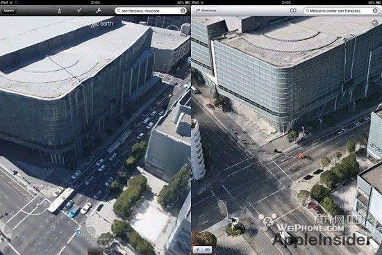 3d城市效果对比:苹果地图vs谷歌地球