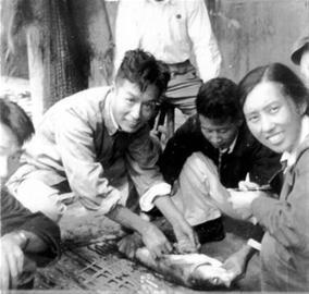 尹文英(右一)与同事们一起研究鱼病