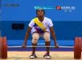 奥运视频-里瓦斯抓举抽筋倒地 举重女子58kg级