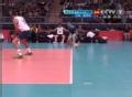 奥运视频-赫特伊网前抡臂扣球 直逼巴西队底线