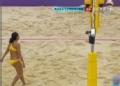 奥运视频-毛里求斯队扣球过网 沙排女子小组赛