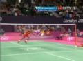 奥运视频-陶菲克轻挑高吊球 林丹飞身暴扣出界