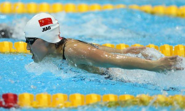 奥运图:女200蝶焦刘洋夺冠 全力以赴前进