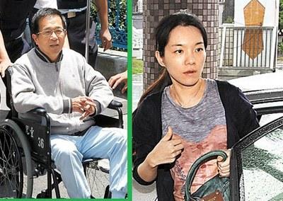 陈幸妤昨天以牙医师身份,进入北监为父亲陈水扁(左)治牙。 台湾《苹果日报》