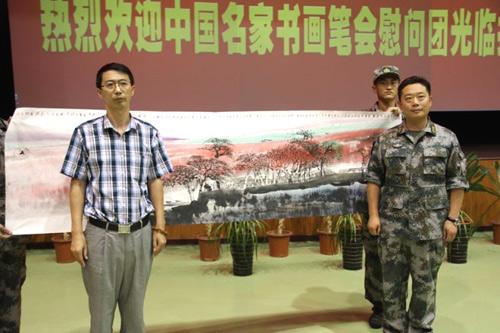 中国名家书画笔会宋斌等人献画慰问救灾英雄