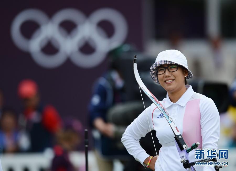 8月2日,韩国选手李胜珍在比赛中。当日,在伦敦奥运会射箭女子个人四分之一决赛中,韩国选手李胜珍以2比6不敌墨西哥选手阿维蒂亚。无缘半决赛。新华社记者陶希夷摄