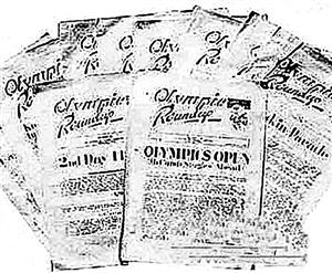 运动会时战俘们制作的每日快报《奥运纪实》。