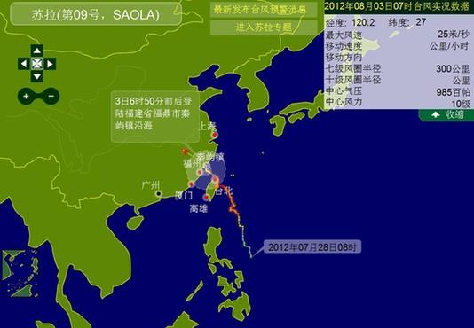 台风苏拉路径图