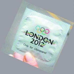 奥运五环标志,现在看起来就像是五个避孕套堆放在一起。