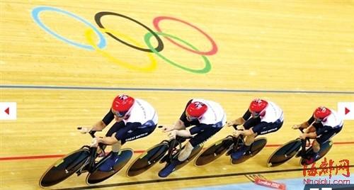 英国场地自行车队在比赛中