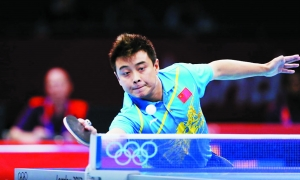 王皓在奥运乒乓球男单决赛中。