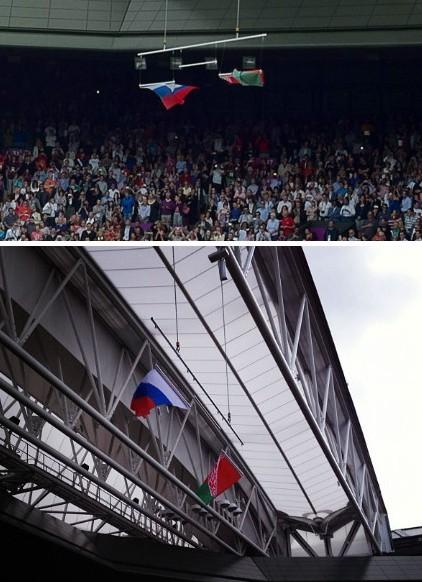 网球女子颁奖后,升起的国旗中获得金牌的美国国旗不见了