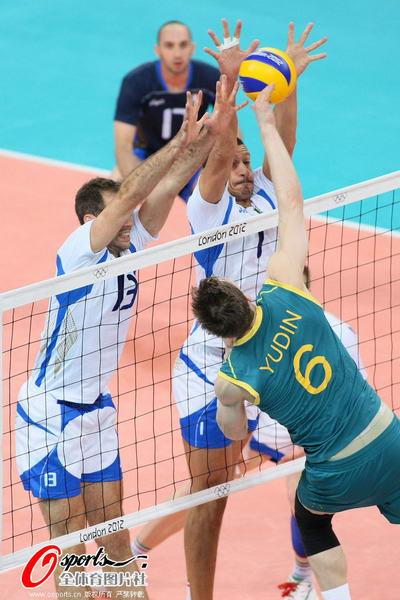 奥运图:意大利男排胜澳大利亚 扣杀被封