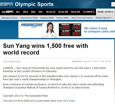ESPN:孙杨1500自破世界纪录折桂