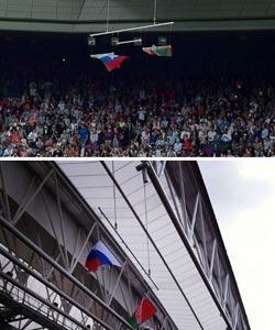 高清:伦敦奥运再闹笑话 美国国旗被掀翻