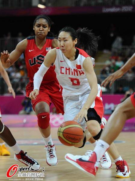 奥运图:中国女篮迎战美国队 苗立杰突破