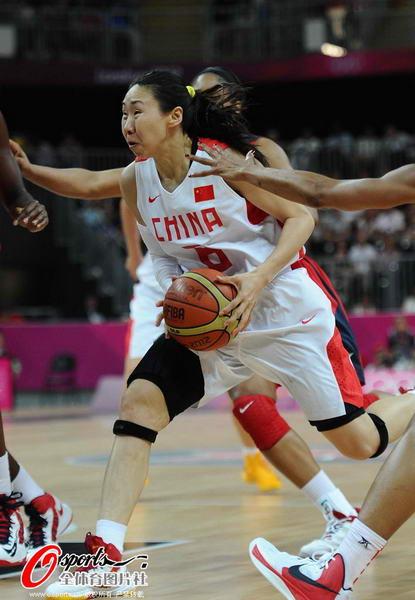奥运图:中国女篮迎战美国队 苗立杰突破上篮