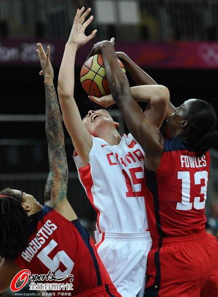 奥运图:中国女篮迎战美国队 遭遇严防