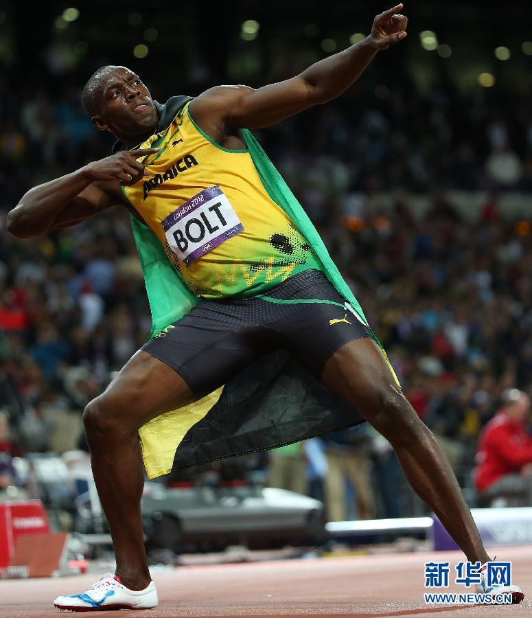 8月5日,博尔特在获胜后庆祝。当日,在2012年伦敦奥运会男子100米决赛中,牙买加名将博尔特以9秒63夺得冠军,并打破奥运会纪录。 新华社记者郭勇摄