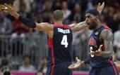 奥运图:美国男篮迎战阿根廷 詹姆斯与钱德勒