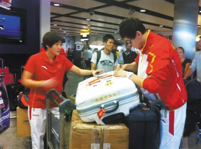 孙杨和叶诗文准备从伦敦启程回国之时。