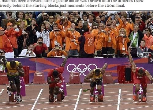 伦敦奥运会男子100米短跑决赛选手身后的塑料瓶(网页截图)