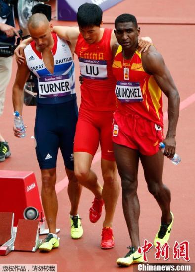 当地时间8月7日,伦敦奥运会男子110米栏预赛,刘翔意外摔倒无缘半决赛。