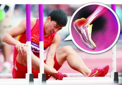 刘翔捂着自己的脚疼痛难忍。