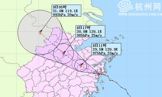 杭州网讯 台风海葵于今天凌晨3时20分在象山三门湾登陆后,4时已减弱为图片