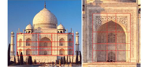 泰姬陵的多出布局都能看出黄金分割
