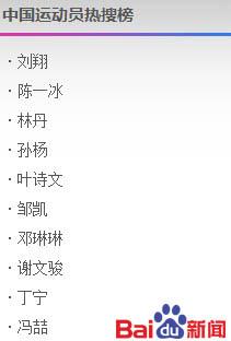 8月8日中国运动员热搜榜:刘翔告别奥运最关注