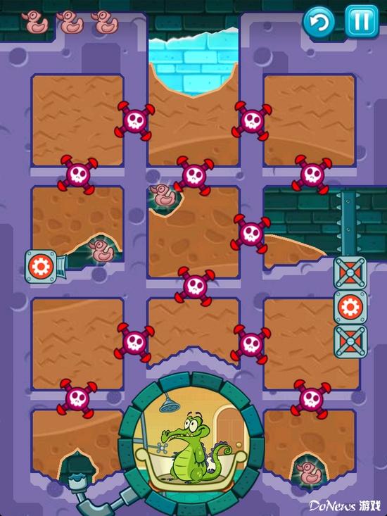 《鳄鱼小顽皮爱洗澡》是一款基于物理原理流体控制类的解谜游戏。共有十个主题章节,每个章节包含20个(总共200个)关卡。