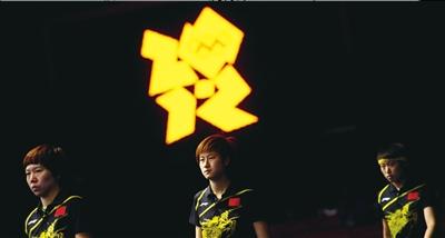 本届奥运会中国夺得女乒团体冠军的选手郭跃、丁宁、李晓霞(从上至下)。新华社发