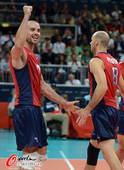 奥运图:意大利男排击败美国 美国队员庆祝进球