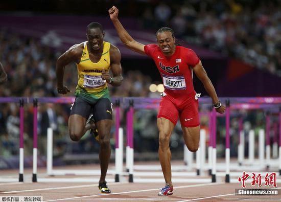 当地时间8月8日,2012伦敦奥运男子110米栏决赛,美国选手梅里特右以12秒94的成绩夺得冠军。