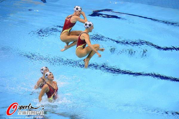 奥运图:花游集体中国列第二 跃起动作