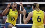 奥运图:巴西女排完胜进决赛 兴奋庆祝