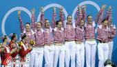 奥运图:花游中国姑娘摘银 俄罗斯姑娘