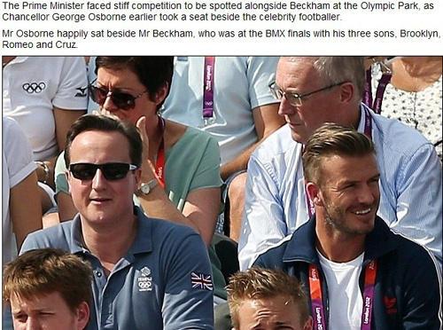 英国首相卡梅伦坐在贝克汉姆身边观看奥运比赛网页截图