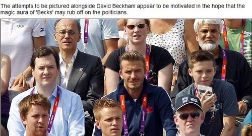 英国财政大臣乔治·奥斯本坐在贝克汉姆身边观看奥运比赛(网页截图)