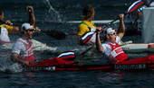 奥运图:男双皮艇俄罗斯摘金 俄罗斯组合庆祝