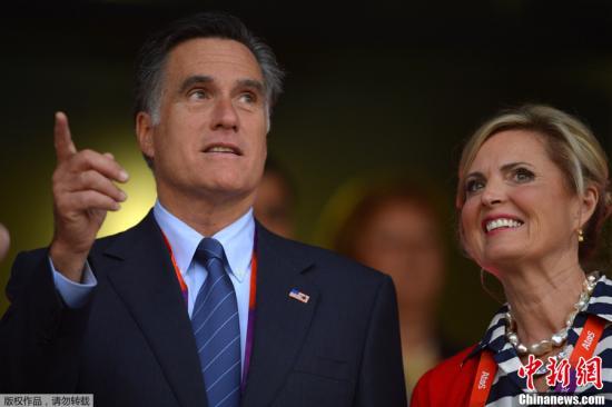 北京时间7月28日凌晨,2012年伦敦奥运会的开幕式隆重举行。这已经是奥运会第三次来到这座城市,也吸引了大量政要前往。图为美国总统候选人罗姆尼与妻子。