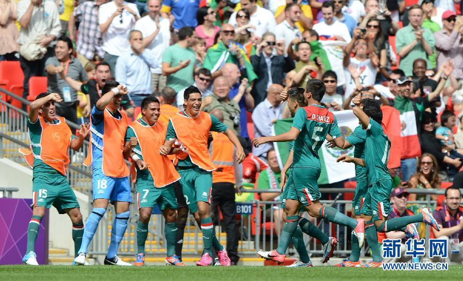 当日,在伦敦奥运会男子足球决赛中,巴西队迎战墨西哥队.