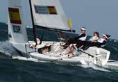 奥运图:帆船6M女子对抗赛 迎风而行