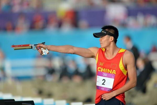 奥运图:现代五项中国创历史摘银 射击动作